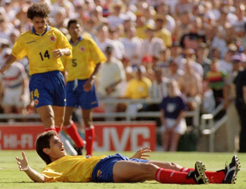 Andres Escobar of Colombia scored an own goa